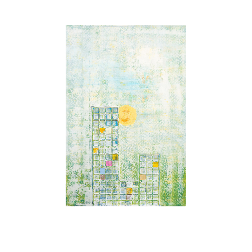 Dr. Ellen Buckermann – Der pinke Vorhang, Acryl auf Leinwand, Strukturen, 100 x 150 cm